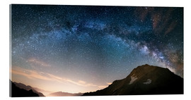 Acrylic print  Milky Way arch and starry sky on the Alps. panoramic view - Fabio Lamanna