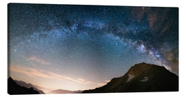 Canvas  Milky Way arch and starry sky on the Alps. Panoramic view - Fabio Lamanna