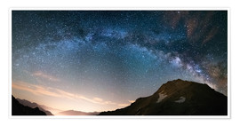 Premium poster  Milky Way arch and starry sky on the Alps. panoramic view - Fabio Lamanna