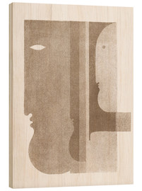 Wood print  Two profiles to the left, one to the right - Oskar Schlemmer