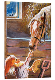 Acrylic print  Dwarf feeds the horse in the stable - Jenny Nyström