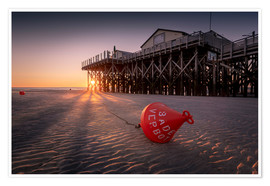 Premium poster St. Peter Ording | Sunset at the sea