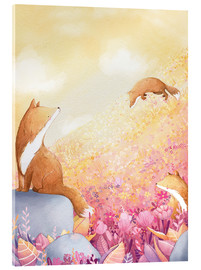 Acrylic glass  Foxes and summer flowers - Rebecca Richards