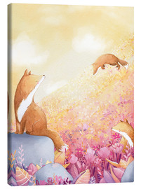 Canvas print  Foxes and summer flowers - Rebecca Richards
