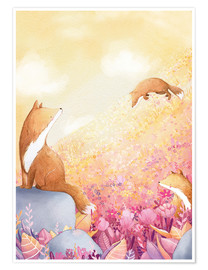 Poster  Foxes and summer flowers - Rebecca Richards