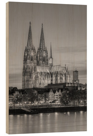 Wood print  Cologne Cathedral black-and-white - Michael Valjak