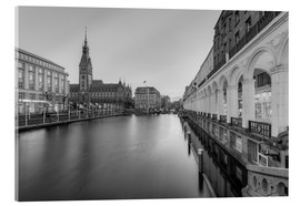 Acrylic print  Hamburg Alsterarkaden and city hall black-and-white - Michael Valjak