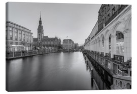 Canvas  Hamburg Alsterarkaden and city hall black-and-white - Michael Valjak