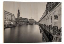 Wood print  Hamburg Alsterarkaden and city hall black-and-white - Michael Valjak