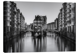 Canvas print  Hamburg Speicherstadt black-and-white - Michael Valjak