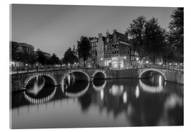 Acrylic glass  Amsterdam Keizersgracht black-and-white - Michael Valjak