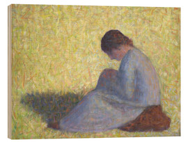 Wood print  Peasant Woman Seated in the Grass - Georges Seurat