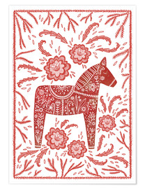Poster  Swedish Dala Horse Folk Art - Nic Squirrell