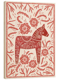 Wood print  Swedish Dala horse - Nic Squirrell
