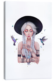 Canvas print  Boho girl with hummingbirds - Valeriya Korenkova