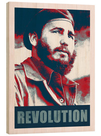 Wood print  Fidel Castro revolution in Cuba - Alex Saberi