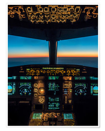 Poster  A320 cockpit at twilight - Ulrich Beinert