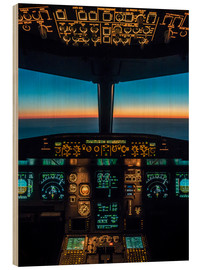 Wood print  A320 cockpit at twilight - Ulrich Beinert