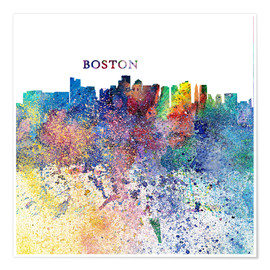 Premium poster Boston Massachusetts Skyline Silhouette Impressionistic Splash