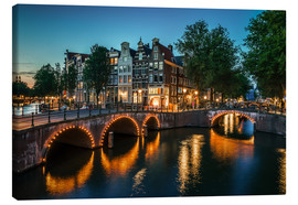 Canvas  Nightfall in Amsterdam, Netherlands - Sören Bartosch