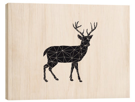 Wood print  Black deer - Nouveau Prints