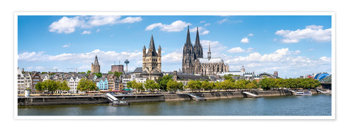 Premium poster Cologne Rheinufer with cathedral and town hall