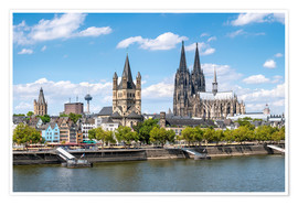Premium poster City view of Cologne in summer, North Rhine-Westphalia, Germany