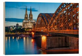 Wood print  Cologne Cathedral and Hohenzollern Bridge at night - Jan Christopher Becke