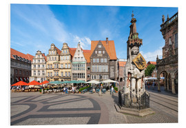 Foam board print  Historic Market Square in Bremen with Roland Statue - Jan Christopher Becke