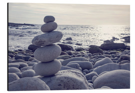 Aluminium print  Pyramid of pebbles on the sea front - Elena Schweitzer