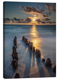Canvas print  Groyne on Sylt with sunset - Heiko Mundel