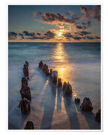 Premium poster  Groyne on Sylt with sunset - Heiko Mundel
