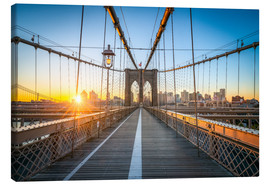 Canvas  Brooklyn Bridge at sunrise in front of the Brooklyn skyline - Jan Christopher Becke