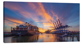 Canvas print  Sunset at the container terminal Hamburg Waltershof - Heiko Mundel