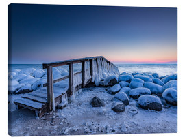 Canvas print  Jetty on the icy Baltic Sea near Travemünde - Heiko Mundel