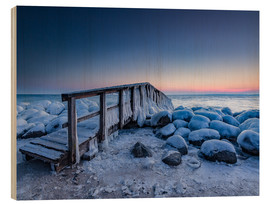 Wood  Jetty on the icy Baltic Sea near Travemünde - Heiko Mundel