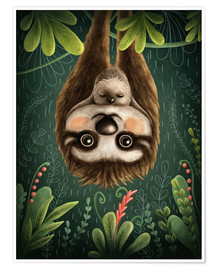 Premium poster Sloth mom with baby