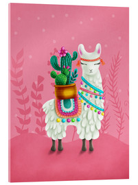 Acrylic glass  Illustration of a cute llama - Elena Schweitzer