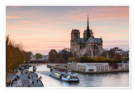 Premium poster  Sunset over Notre Dame, Paris - Matteo Colombo