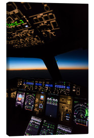 Canvas print  Airbus A380 Cockpit at twilight - Ulrich Beinert