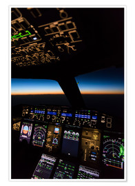 Premium poster  Airbus A380 Cockpit at twilight - Ulrich Beinert