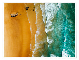 Premium poster Turquoise ocean waves and tropical sand beach