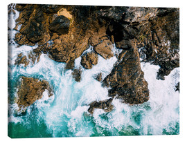 Canvas print  Dramatic Ocean Waves Crushing On Rocky Landscape - Radu Bercan