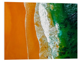 Foam board print  Ocean waves and sand beach in Portugal - Radu Bercan