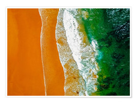 Premium poster Ocean waves and sand beach in Portugal
