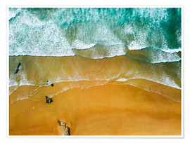 Premium poster  Blue Ocean Waves And Beautiful Sandy Beach in Portugal - Radu Bercan