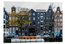Acrylic print  Dutch Houses Architecture Along Amsterdam Water Canal - Radu Bercan