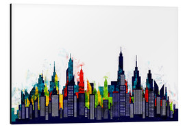 Aluminium print  New York City Abstract Skyline In Watercolors - Radu Bercan