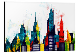 Aluminium print  New York City Skyscrapers In Watercolor - Radu Bercan