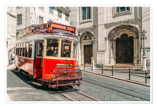 Premium poster Red Tram Travelling In Lisbon City